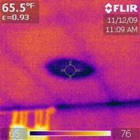 Infrared Thermal Inspection: Ceiling Leak Below Chimney